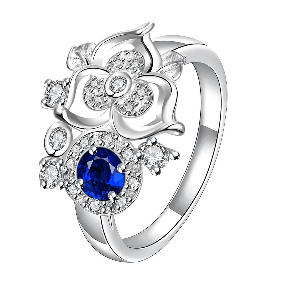 Mini Mock Sapphire Clover Stud Shape Petite Ring Size 8