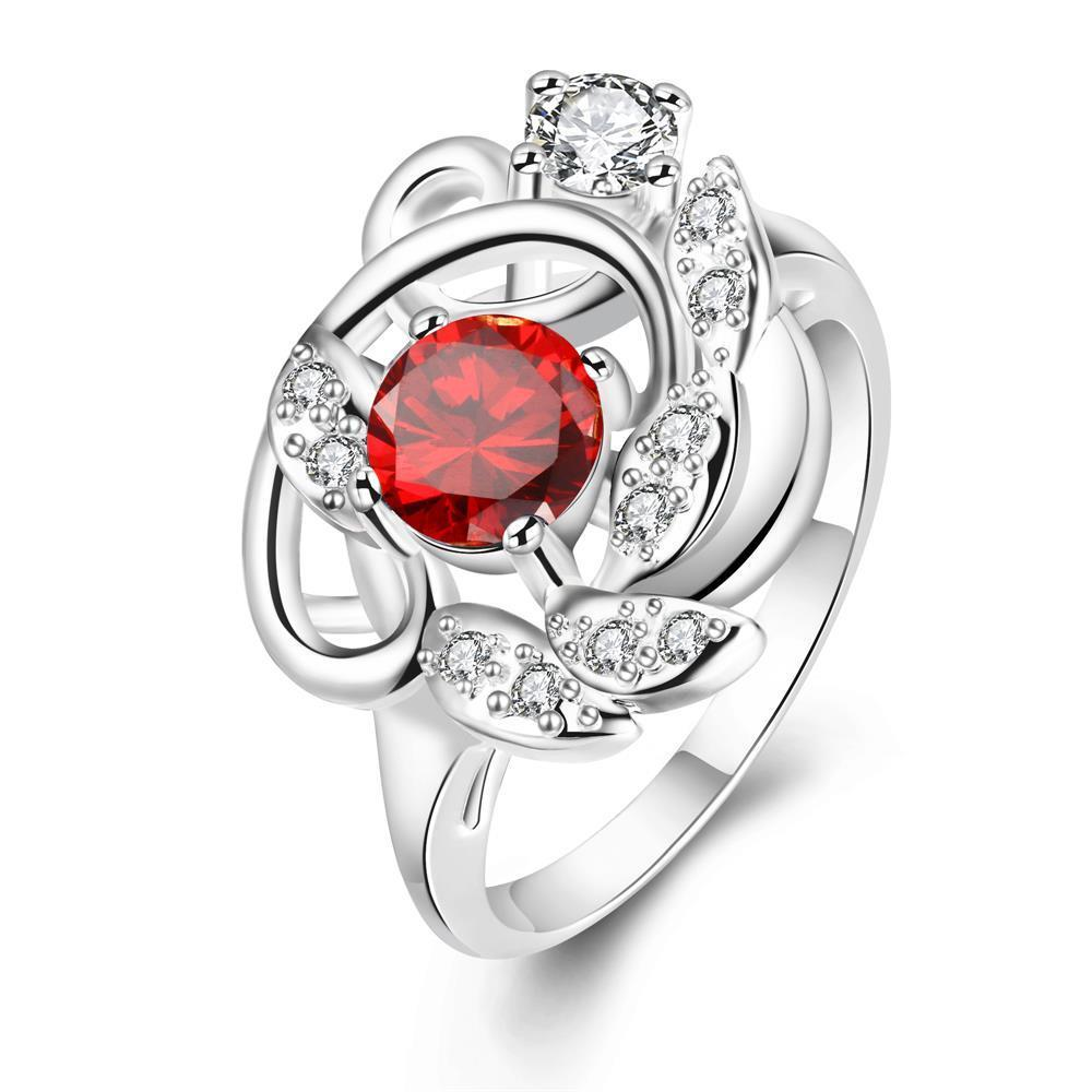 Petite Ruby Red Floral Design Ring Size 8