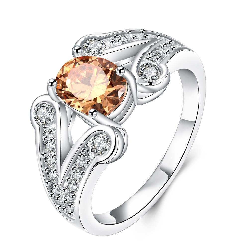 Orange Citrine Duo Curved Lining Ring Size 8