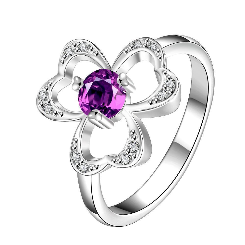 Vienna Jewelry Trio-Clover Stud Purple Citrine Petite Ring Size 8