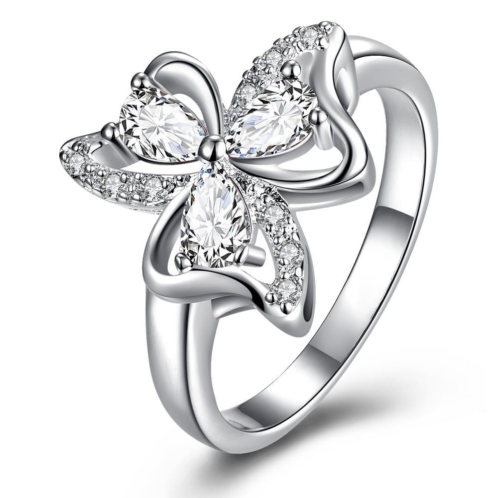 Trio-Classic Crystal Clover Petals Classic Ring Size 8