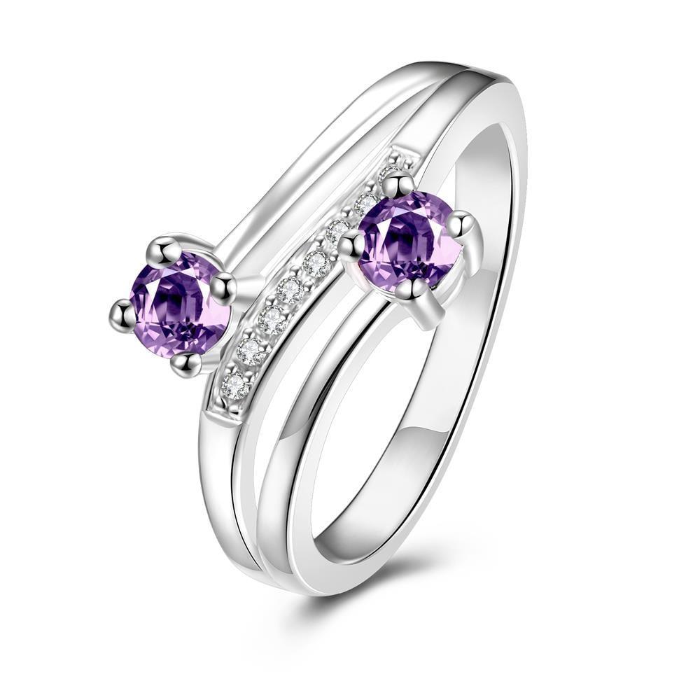 Vienna Jewelry Duo-Petite Purple Citrine Spiral Ring Size 7