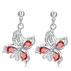 Vienna Jewelry Ruby Red Dangling Drop Butterfly Earrings - Thumbnail 0