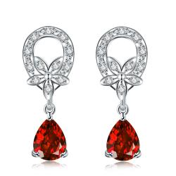 Vienna Jewelry Ruby Red Spiral Emblem Drop Earrings - Thumbnail 0
