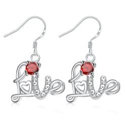 Vienna Jewelry Ruby Red Love Emblem Drop Earrings - Thumbnail 0