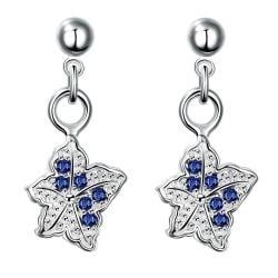 Vienna Jewelry Silver Tone Mock Sapphire Dangling Butterfly Earrings - Thumbnail 0
