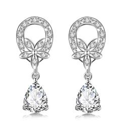Vienna Jewelry Crystal Stone Spiral Emblem Drop Earrings - Thumbnail 0