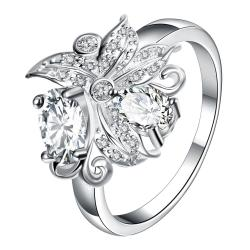 Petite Crystal Blossom Floral Modern Ring Size 8 - Thumbnail 0