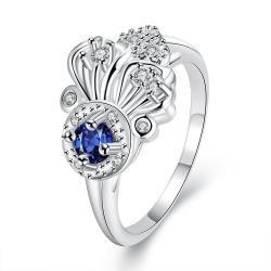 Mock Sapphire Blossoming Clover Emblem Petite Ring Size 8 - Thumbnail 0