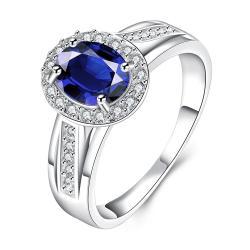 Mock Sapphire Jewels Covering Petite Ring Size 8 - Thumbnail 0