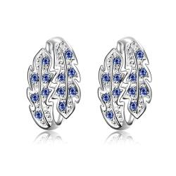 Vienna Jewelry Mock Sapphire Insert Floral Orchid Large Earrings - Thumbnail 0