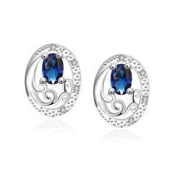 Vienna Jewelry Mock Sapphire Circular Jewels Layering Stud Earrings - Thumbnail 0