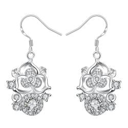 Vienna Jewelry Petite Crystal Stone Gem Blossoming Clover Drop Earrings - Thumbnail 0