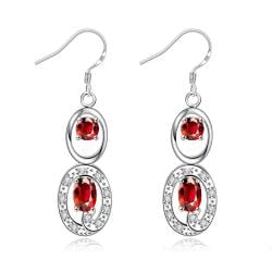 Vienna Jewelry Ruby Red Duo Drop Dangling Earrings - Thumbnail 0