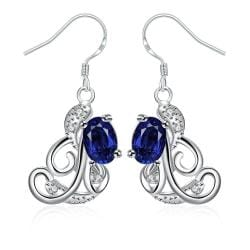 Vienna Jewelry Mock Sapphire Spiral Design Emblem Drop Earrings - Thumbnail 0