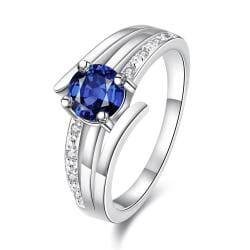 Duo-Petite Classical 3 Later Sapphire Ring Size 8 - Thumbnail 0