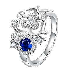 Mini Mock Sapphire Clover Stud Shape Petite Ring Size 8 - Thumbnail 0