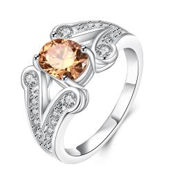 Orange Citrine Duo Curved Lining Ring Size 8 - Thumbnail 0