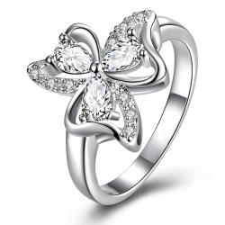 Trio-Classic Crystal Clover Petals Classic Ring Size 8 - Thumbnail 0
