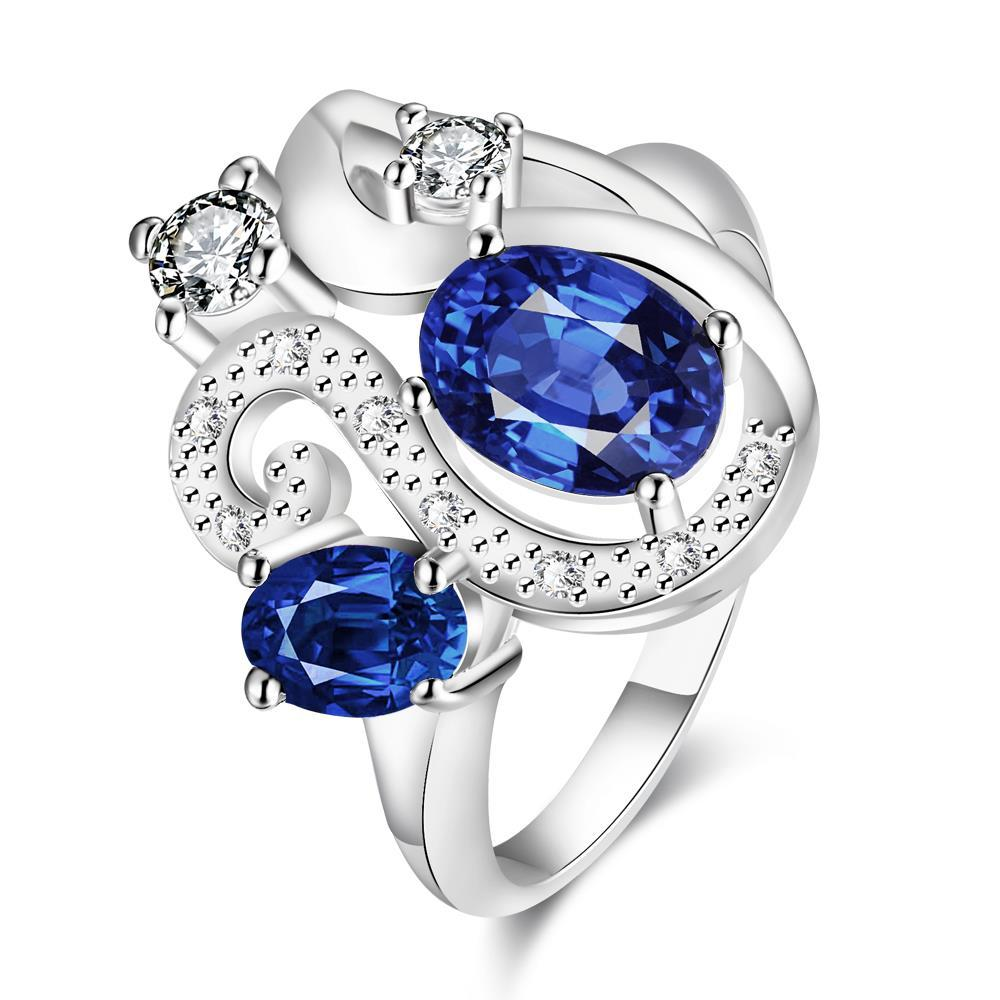Duo-Mock Sapphire Gem Insert Swirl Curved Petite Ring Size 8