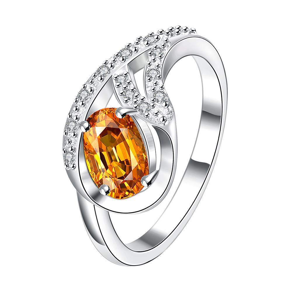 Vienna Jewelry Petite Orange Citrine Spiral Pendant Ring Size 8