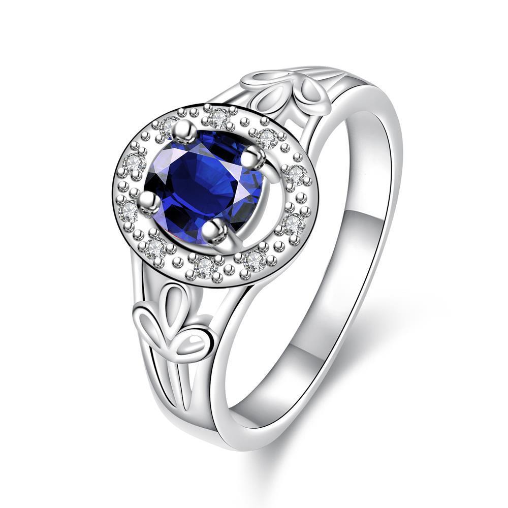 Petite Mock Sapphire Circular Emblem Ring Size 8