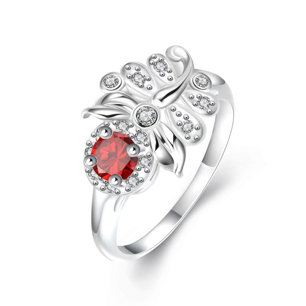 Petite Ruby Red Floral Leaf Petite Ring Size 7