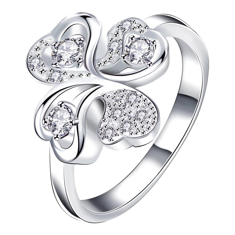 Vienna Jewelry Quad-Classic Crystal Jewels Covering Clover Stud Petite Ring Size 8