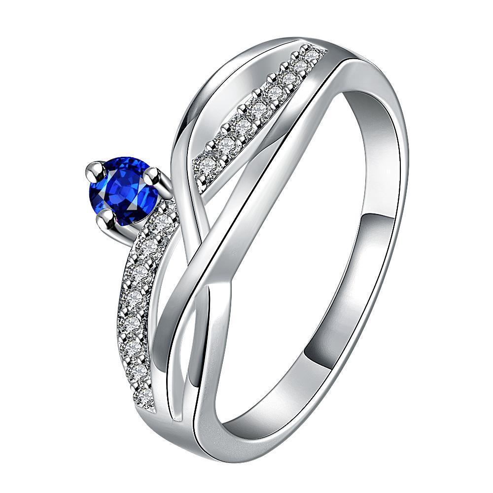 Vienna Jewelry Petite Mock Sapphire Gem Spiral Petite Ring Size 7