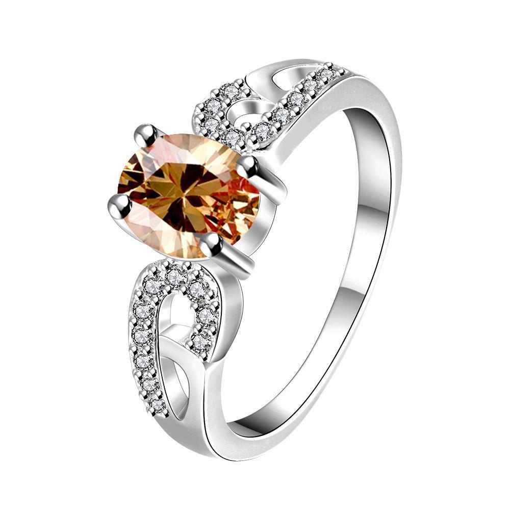 Vienna Jewelry Petite Yellow Citrine Laser Cut Petite Ring Size 8