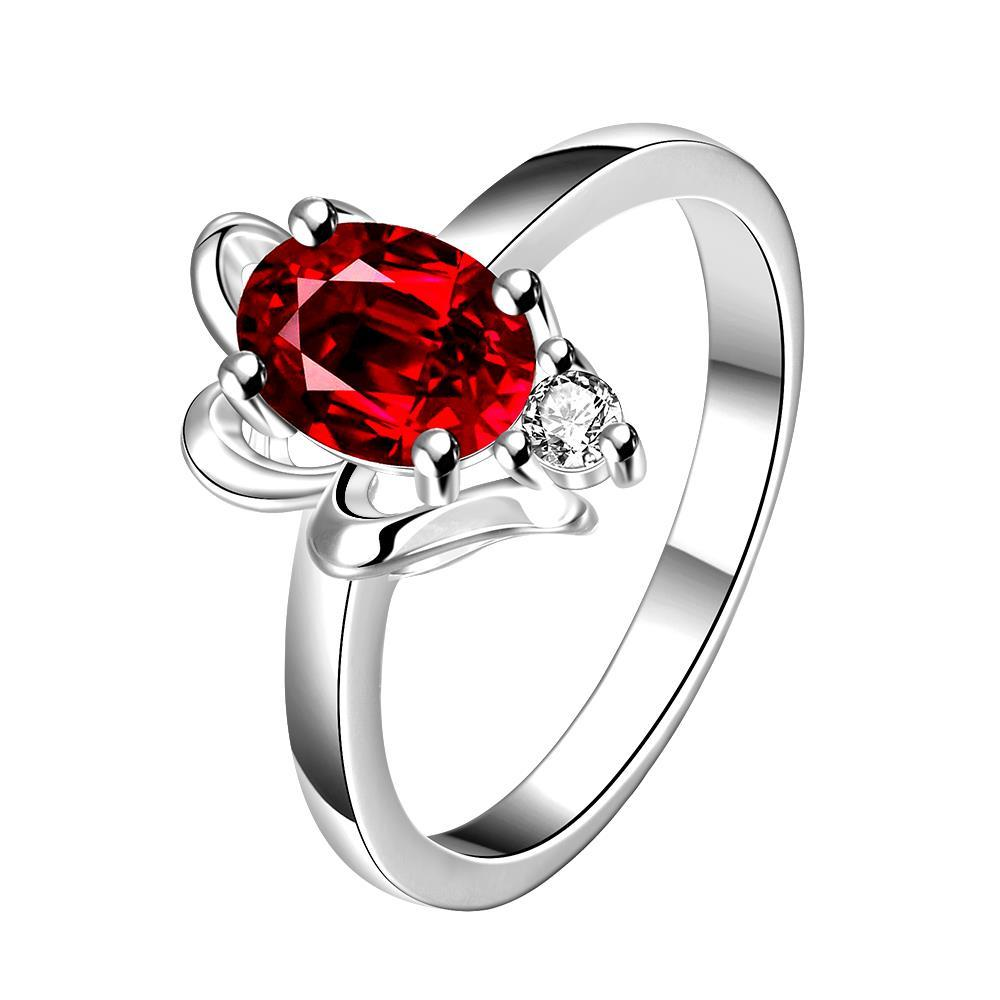 Vienna Jewelry Ruby Red Petite Gem Classic Ring Size 7