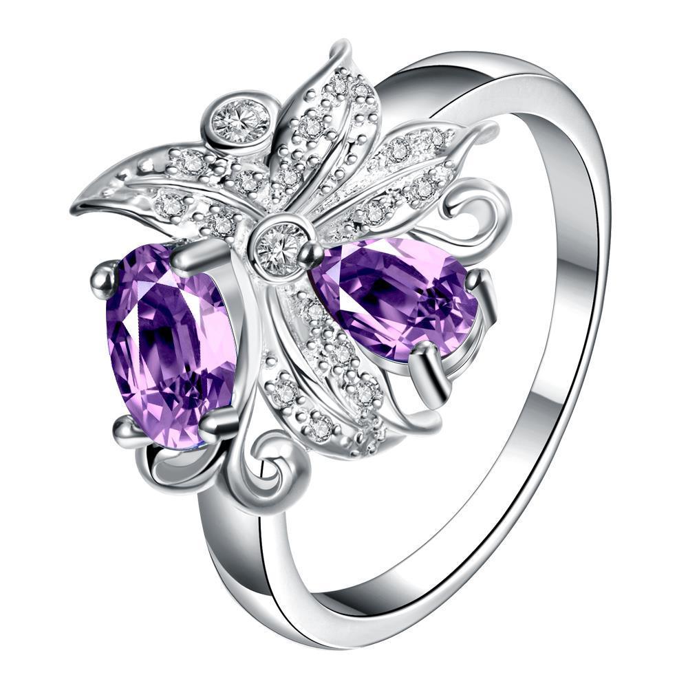 Vienna Jewelry Petite Purple Citrine Blossom Floral Modern Ring Size 7