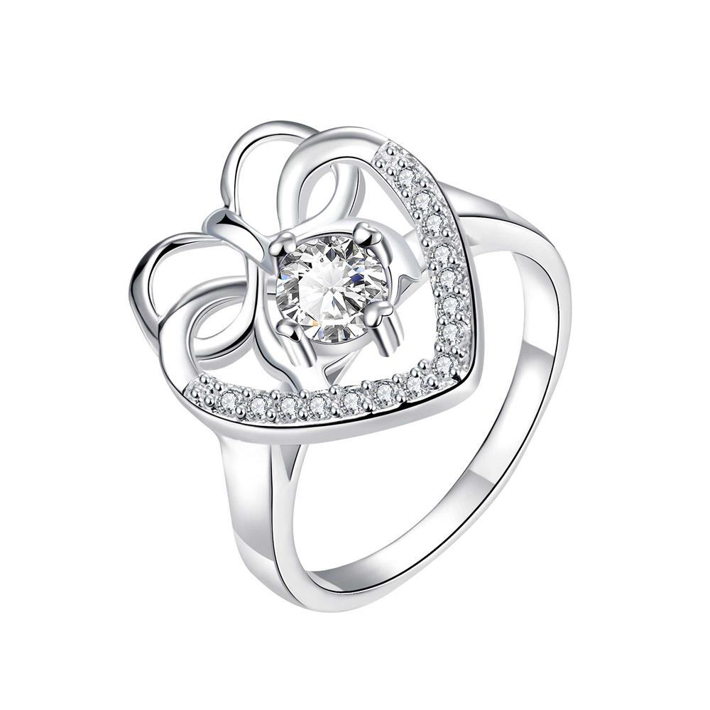 Curved Classic Crystal Stone Love Ring Size 8