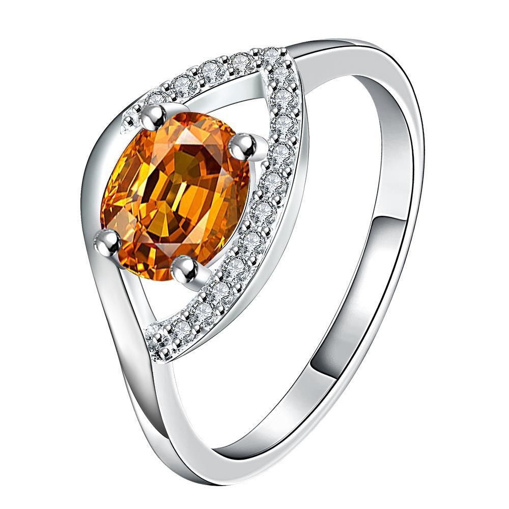 Vienna Jewelry Petite Orange Citrine Open Clasp Petite Ring Size 8 - Thumbnail 0
