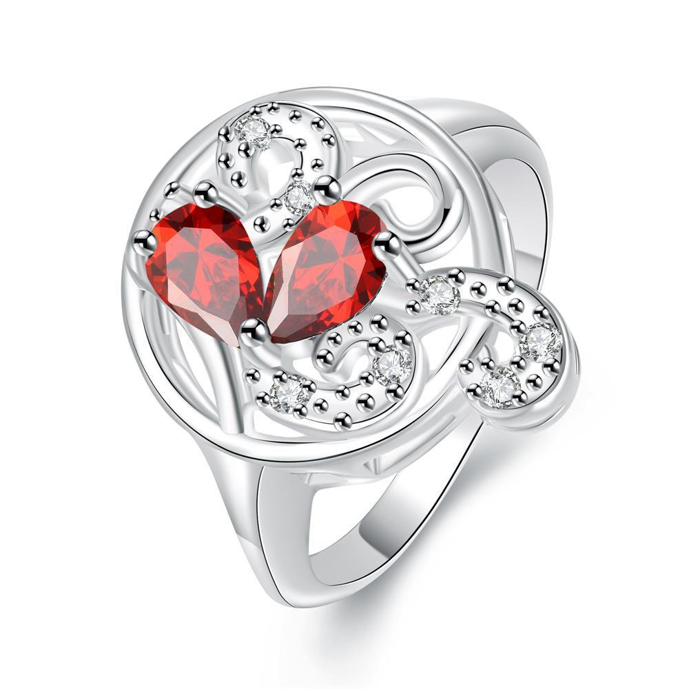 Vienna Jewelry Duo-Ruby Red Crystal Swirl Design Petite Ring Size 8