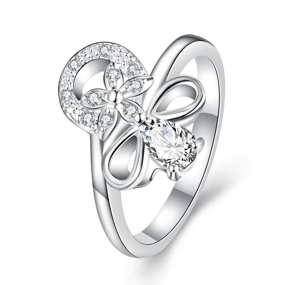 Vienna Jewelry Petite Crystal Stone Swirl Floral Emblem Ring Size 7