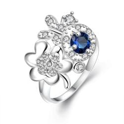Mock Sapphire Spiral & Clover Charms Petite Ring Size 8 - Thumbnail 0