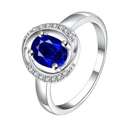 Mock Sapphire Circular Jewels Lining Ring Size 7 - Thumbnail 0
