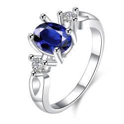 Petite Mock Sapphire Gem Duo Stone Ring Size 8 - Thumbnail 0