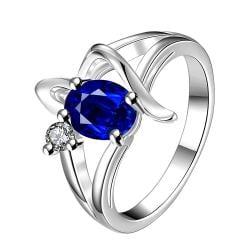Vienna Jewelry Mock Sapphire Spiral Design Petite Ring Size 7 - Thumbnail 0