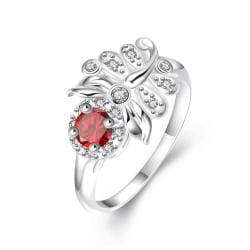 Petite Ruby Red Floral Leaf Petite Ring Size 7 - Thumbnail 0