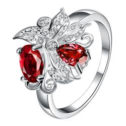 Petite Red Ruby Blossom Floral Modern Ring Size 8 - Thumbnail 0