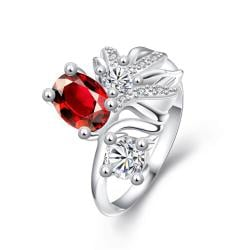 Ruby Red Sapphire Cruved Floral Orchid Ring Size 8 - Thumbnail 0