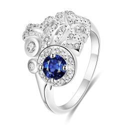Petite Mock Sapphie Gem Clover Cluster Ring Size 8 - Thumbnail 0