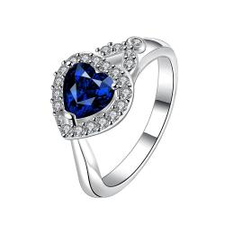 Heart Shaped Mock Sapphire Jewels Crystal Ring Size 8 - Thumbnail 0