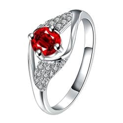 Ruby Red Spiral Jewels Classical Ring Size 8 - Thumbnail 0