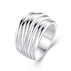 Multi Swirl Design Silver Tone Ring Size 8 - Thumbnail 0
