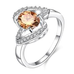 Orange Citrine Curved Petite Jewels Ring Size 7 - Thumbnail 0
