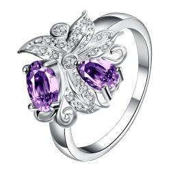 Petite Purple Citrine Blossom Floral Modern Ring Size 8 - Thumbnail 0
