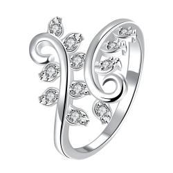 Classic Crystal Multi-Petite Gem Inserted Swirl Ring Size 8 - Thumbnail 0